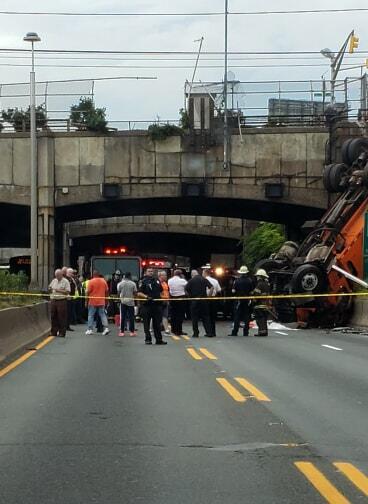BREAKING UNION CITY: Garbage Truck Falls from Bridge onto NJ