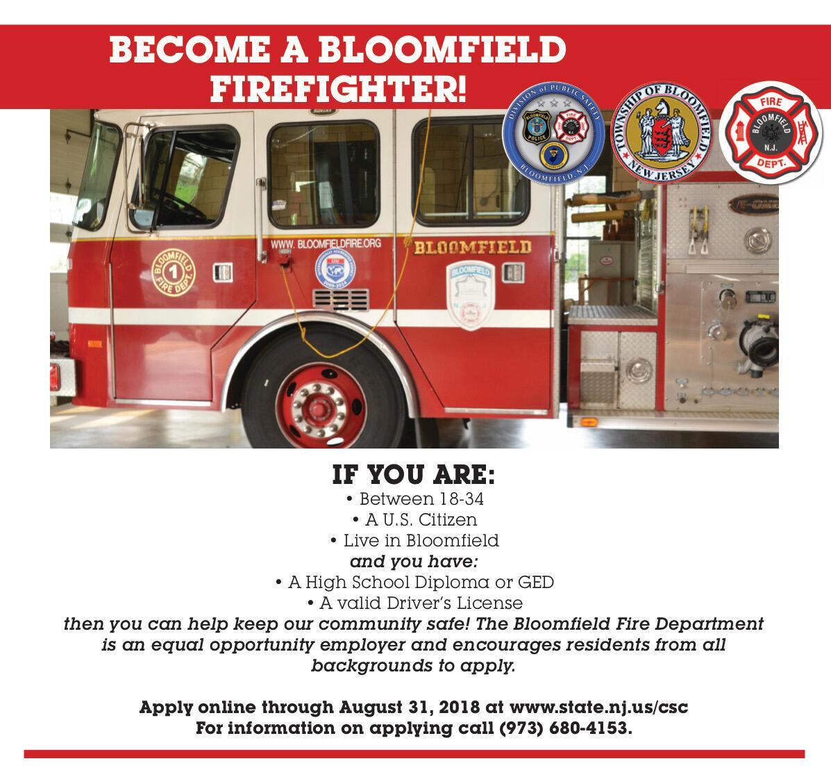 Bloomfield Fire Department Accepting Applications | rlsmedia com