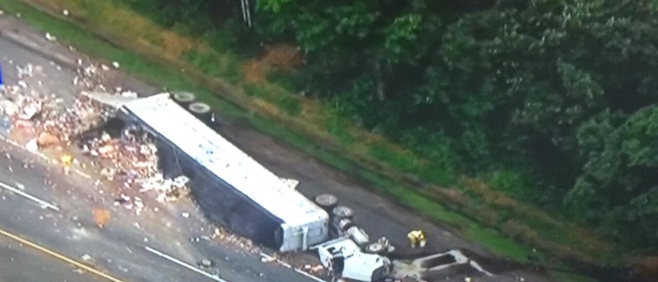 Overturned Tractor Trailer Snarls Morning Traffic on NJ Turnpike in ...