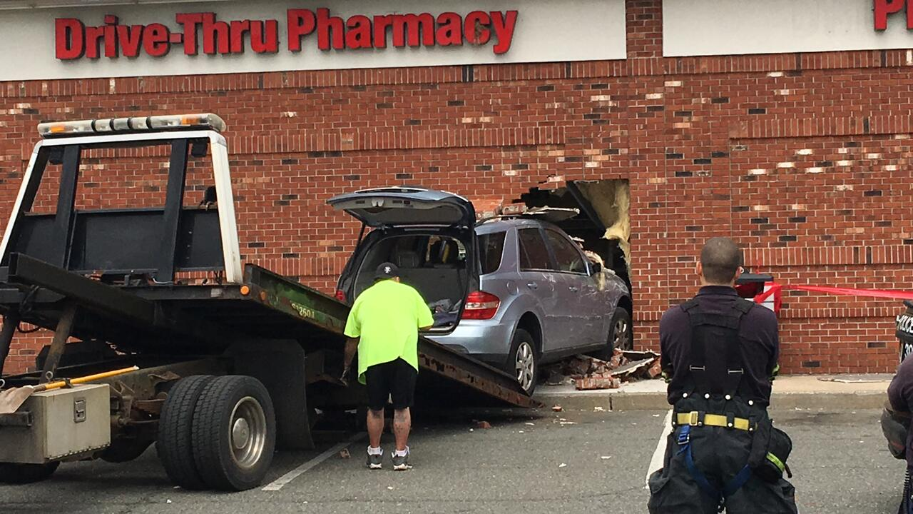 woman injured after crashing car into cvs pharmacy in union